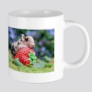 Pig and Strawberry Stainless Steel Travel Mugs