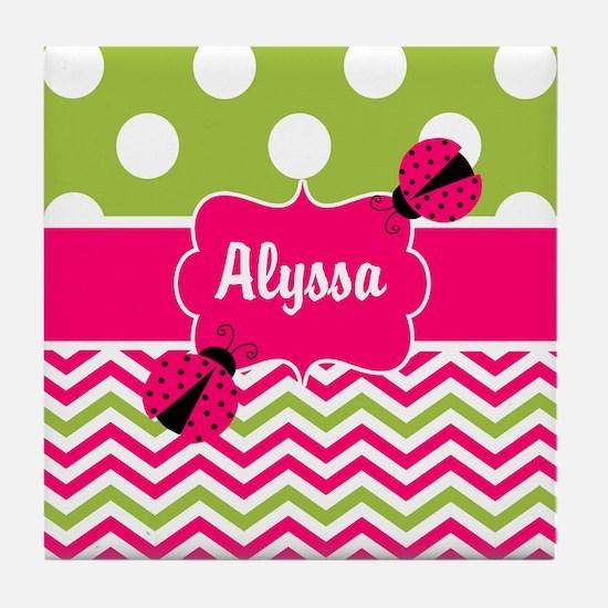 Pink Green Chevron Ladybug Personalized Tile Coast