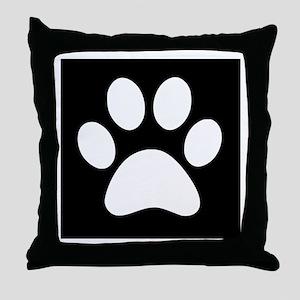 Black and white Paw print Throw Pillow