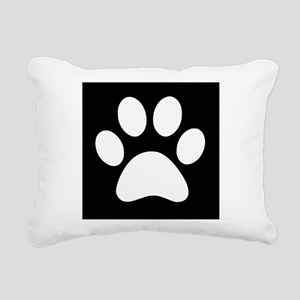 Black and white Paw print Rectangular Canvas Pillo