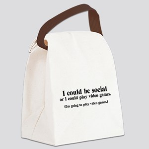 I Could be Social Canvas Lunch Bag