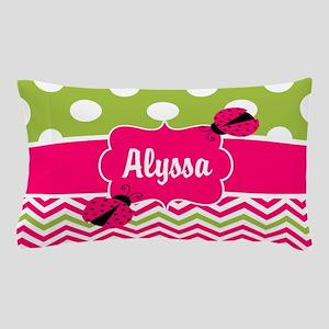 Pink Green Chevron Ladybug Personalized Pillow Cas