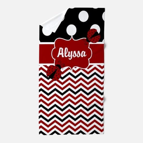 Red Black Chevron Ladybug Personalized Beach Towel