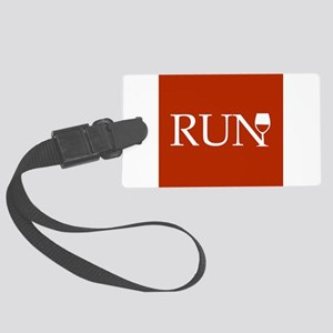 Run for Wine - red Large Luggage Tag