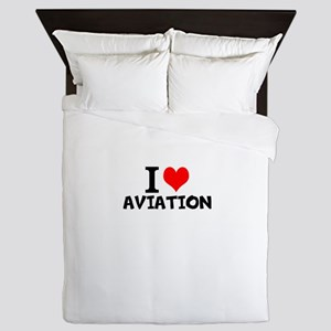 I Love Aviation Queen Duvet