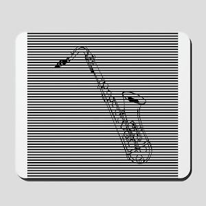 Saxophone on Black and White Mousepad