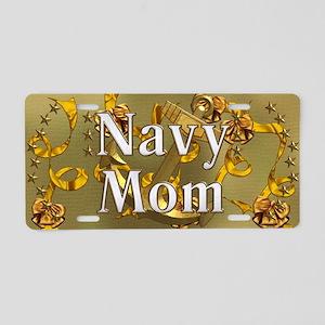 Harvest Moons Navy Mom Aluminum License Plate