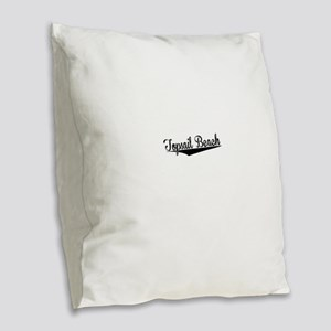 Topsail Beach, Retro, Burlap Throw Pillow