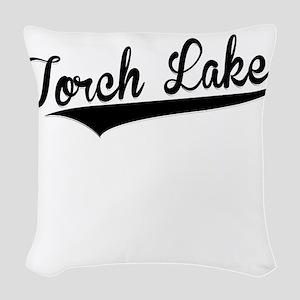 Torch Lake, Retro, Woven Throw Pillow