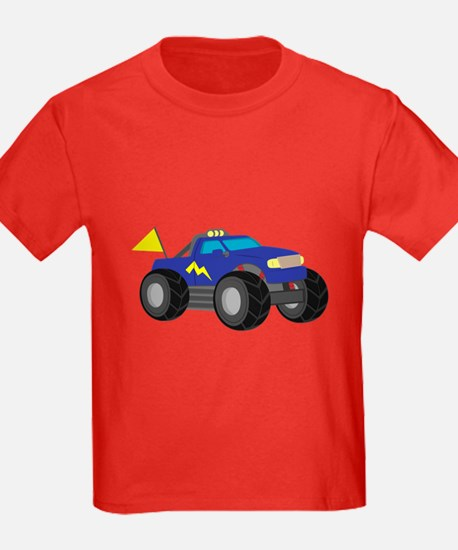 Cool Blue Monster Truck with Flag T-Shirt