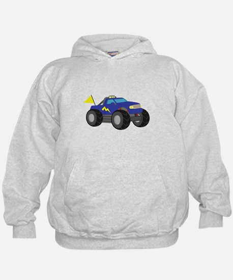 Cool Blue Monster Truck with Flag Hoodie