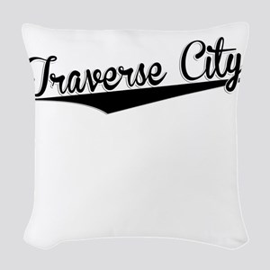 Traverse City, Retro, Woven Throw Pillow