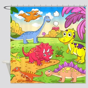 Cute Dinosaurs Shower Curtain