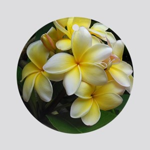 Yellow Frangipani Round Ornament