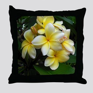 Yellow Frangipani Throw Pillow