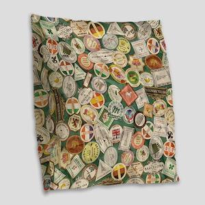 TRAVEL TIME Burlap Throw Pillow
