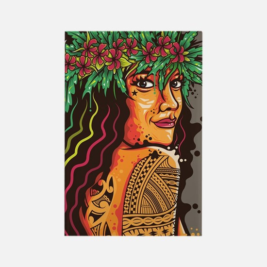 Tattooed Lady Rectangle Magnet