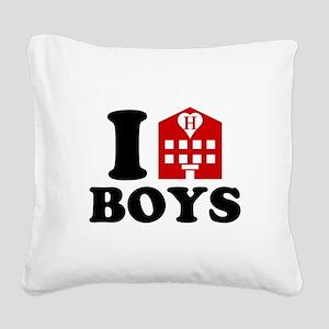 I Love Hotel Boys Square Canvas Pillow