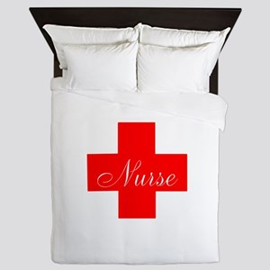 Nurse in Red and White Queen Duvet