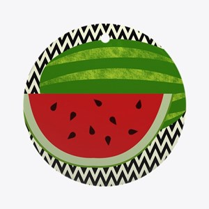Watermelon on Zigzags Ornament (Round)