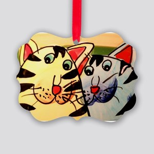 Cat's friendship Picture Ornament