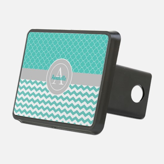 Teal Gray Chevron Quatrefoil Hitch Cover