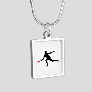 Discgolf player Silver Square Necklace