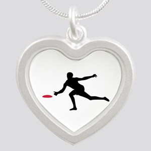 Discgolf player Silver Heart Necklace