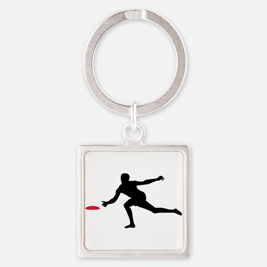 Discgolf player Square Keychain