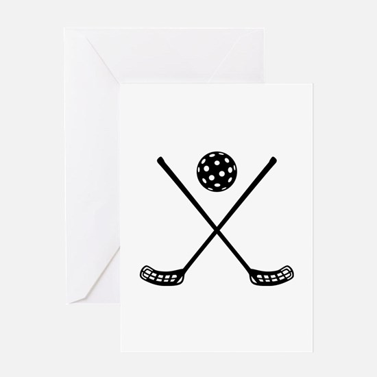 Crossed floorball sticks Greeting Card