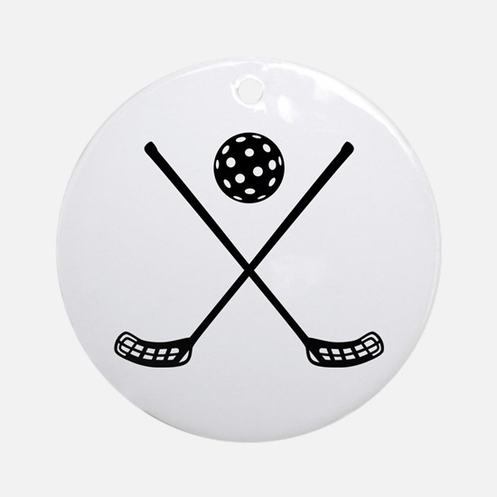 Crossed floorball sticks Ornament (Round)