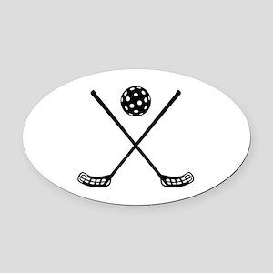 Crossed floorball sticks Oval Car Magnet