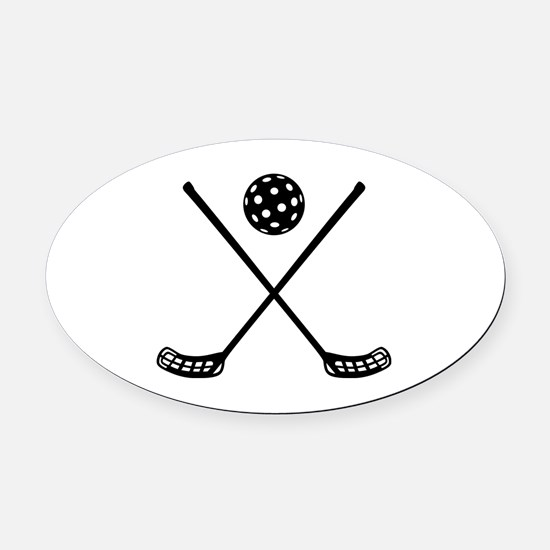 Crossed floorball sticks Oval Car Magnet