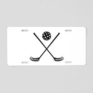 Crossed floorball sticks Aluminum License Plate