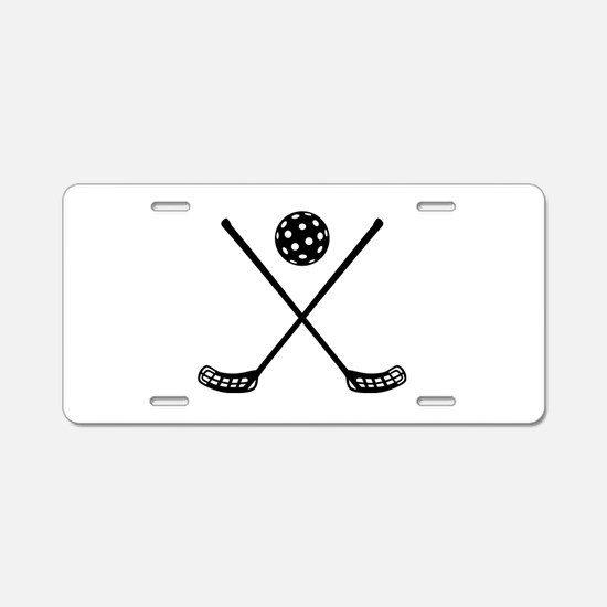 Crossed floorball sticks Aluminum License Plate