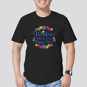Walking Happy Place Men's Fitted T-Shirt (dark)