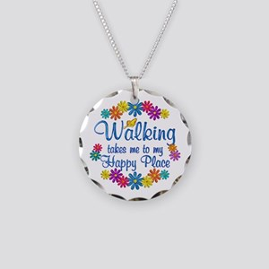 Walking Happy Place Necklace Circle Charm