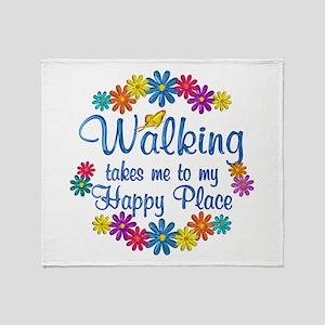 Walking Happy Place Throw Blanket