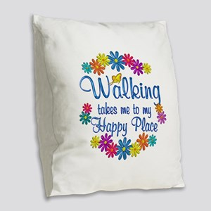 Walking Happy Place Burlap Throw Pillow