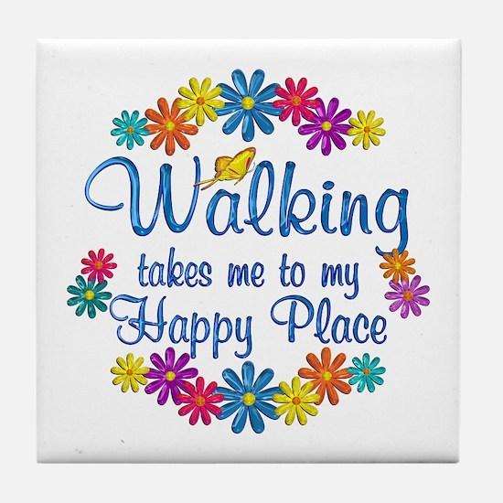 Walking Happy Place Tile Coaster