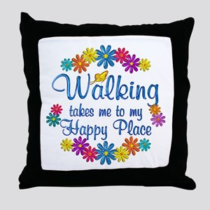 Walking Happy Place Throw Pillow