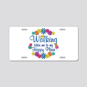 Walking Happy Place Aluminum License Plate