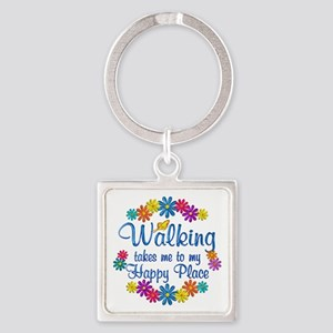 Walking Happy Place Square Keychain