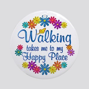 Walking Happy Place Ornament (Round)
