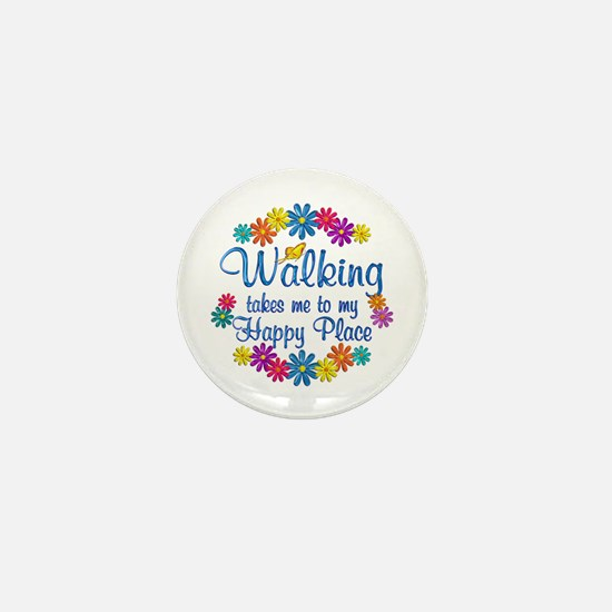 Walking Happy Place Mini Button