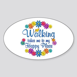 Walking Happy Place Sticker (Oval)