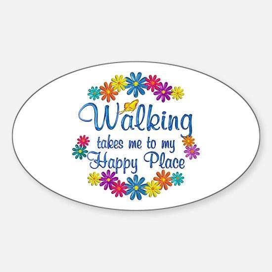 Walking Happy Place Sticker (Oval)