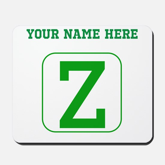 Custom Green Block Letter Z Mousepad