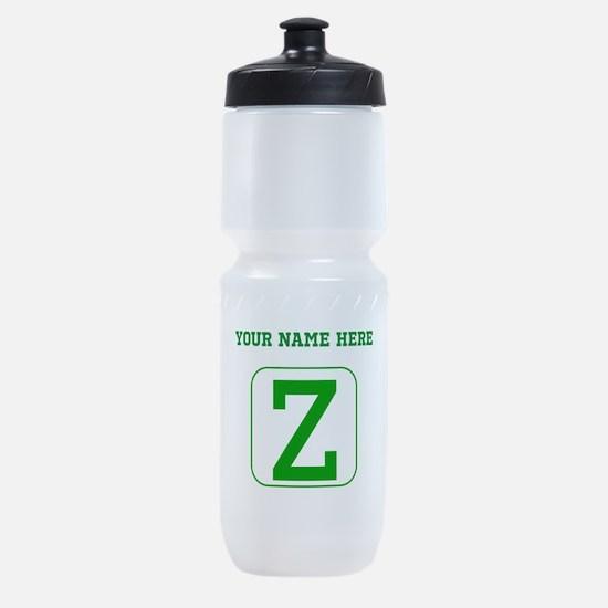 Custom Green Block Letter Z Sports Bottle