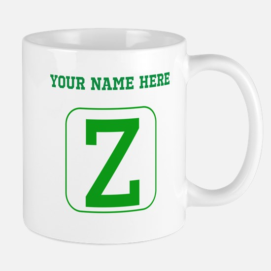 Custom Green Block Letter Z Mugs